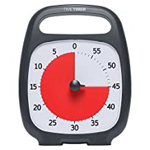 """Time Timer PLUS 60 Minute Visual Analog Timer; Optional Alert (Volume-Control Dial); Silent Operation (No Ticking); 5.5"""" wide x 7"""" tall; Time Management Tool; Charcoal"""