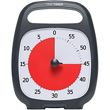 "Time Timer PLUS 60 Minute Visual Analog Timer; Optional Alert (Volume-Control Dial); Silent Operation (No Ticking); 5.5"" wide x 7"" tall; Time Management Tool; Charcoal"