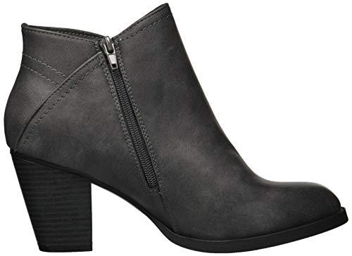 Rampage Women's Edyn Casual Block Heel Side Zipper Studded Bootie Ankle Boot Dark Grey Nubuck Studs