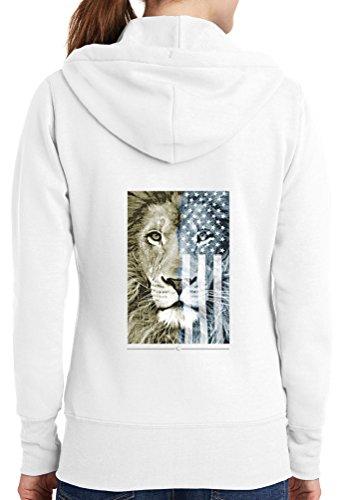 Womens American Lion Full Zip Hoodie, White, 4X