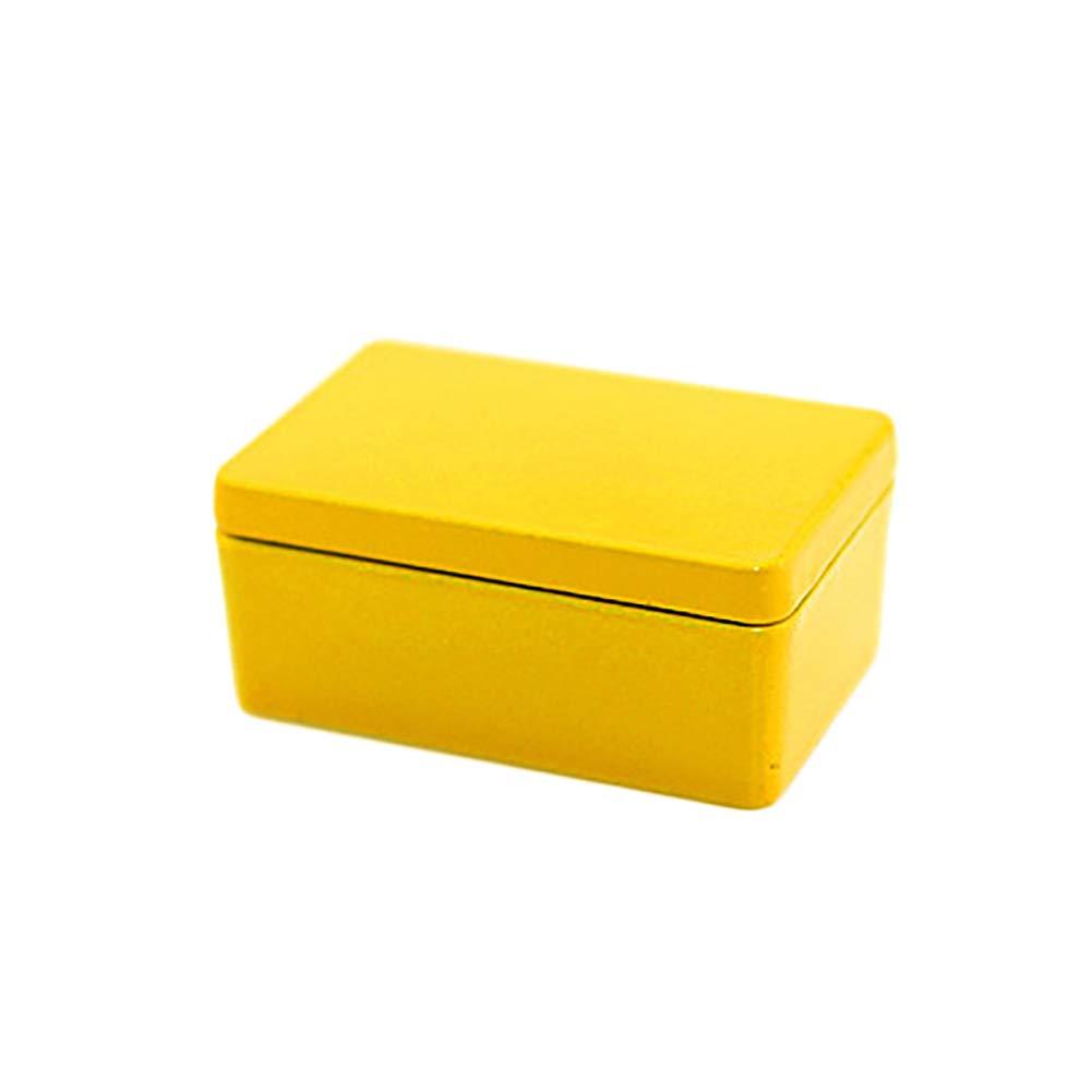 Ruby569y Bo/îte de rangement rectangulaire pour maison de poup/ée 1//12 1//16 Jaune Noir