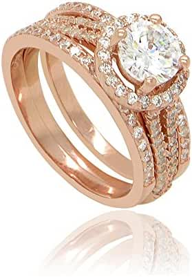 Sterling Silver 18k Rose Gold Flashed Round Cut Cubic Zirconia Halo Set of 3 Stacking Ring