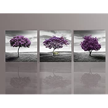Nuolan art canvas print 3 panels purple trees modern landscape framed canvas wall art