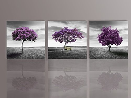 Nuolan Art - Canvas Print 3 Panels PURPLE TREES Modern Landscape Framed Canvas Wall Art -P3L3030-003 by NUOLAN