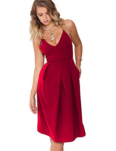 Eliacher Women's Deep V Neck Adjustable Spaghetti Straps Summer Dress Sleeveless Sexy Backless Party Dresses with Pocket (S, Red)