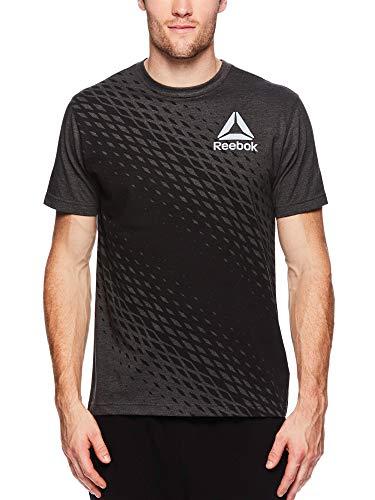 Reebok Men's Graphic Workout Tee - Short Sleeve Gym & Training Activewear T Shirt - Vortex Charcoal Heather, - Training Activewear