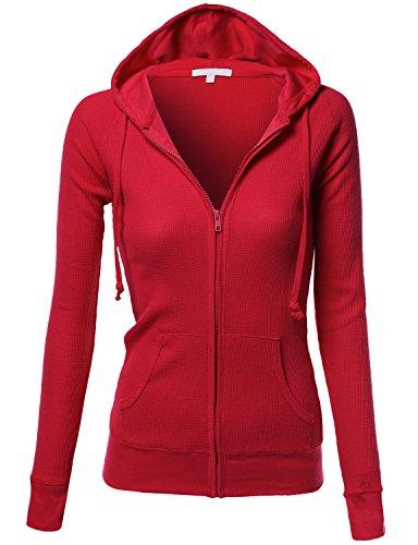 Basic Slim Fit Lightweight Zipper Drawstring Hooded Jackets Red Size L