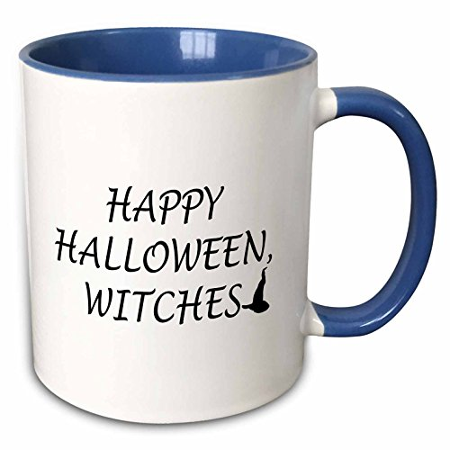 3dRose Tory Anne Collections Quotes - HAPPY HALLOWEEN, WITCHES - 15oz Two-Tone Blue Mug (mug_221094_11)