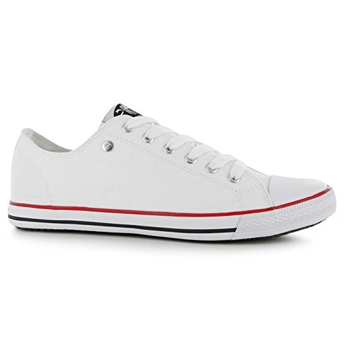 Dunlop Heren Canvas Lo Profiel Pompen Lace Up Leisure Schoenen Extra Licht Wit