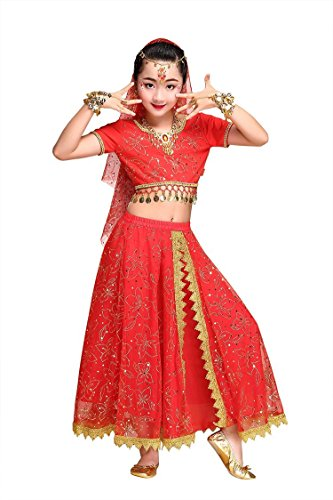 Feimei Girl's Exotic Jasmine Belly Dance Costume Set with Halter Top Parkly Fringe Skirt and Sequin Coins Designed for Performance Cosplay Carnival and Halloween Party (Red, Large) -