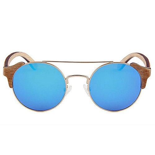 los polarizadas de alta madera calidad metal hechas que de Protección de Retro gafas de marco personalidad sol hombres Gafas a de mano sol de conduce la Gafas Beach Azul de Sungl ULTRAVIOLETA de sol las de SgRq0X