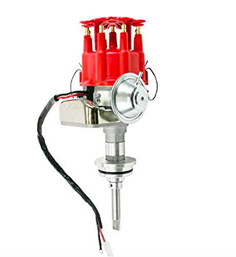 (A-Team Performance Complete Ready to Run Distributor Compatible with Chrysler Dodge Mopar Plymouth V8 273 318 340 360 R2R Two Wire Installation Red Cap)
