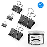 Tdbest Binder Clips Paper Clamp Assorted Sizes Metal Paper Clips Per Tub Perfect for Home, School, Office (60Pcs, Black)