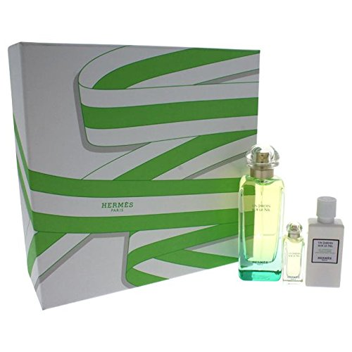 Hermes Un Jardin Nil 100ml EDT Eau de Toilette Spray + 40ml Body Lotion + 7.5ml EDT Miniatur HERMES PARIS 3346131102402