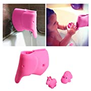 Bath Spout Cover - Bathtub Faucet Cover for Kid - Bath Tub Faucet Extender Protector For Baby - Silicone Soft Spout Cover Baby Pink Elephant - Child Bathroom Cute Accessories