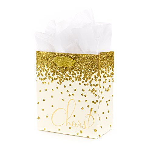 Anniversary Wedding Gift Wrap - Hallmark Small Gift Bag with Tissue Paper for Engagements, Weddings, Retirements and More (Gold Glitter Cheers)
