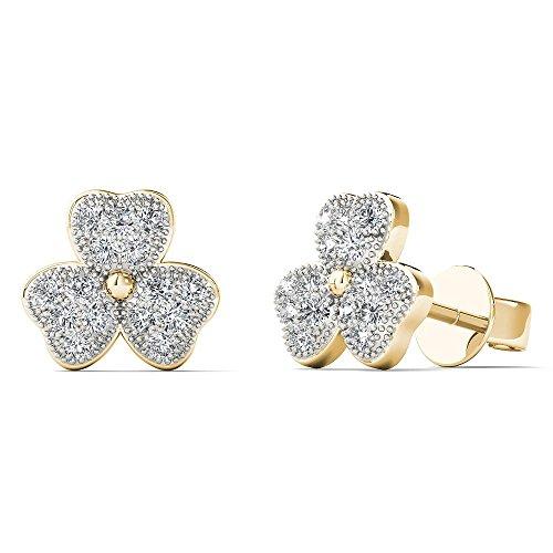 0K Yellow Gold 1/8 Carat TDW Diamond Three Leaf Clover Stud Earrings (H-I, I1-I2) (Tdw Diamond Leaf Ring)