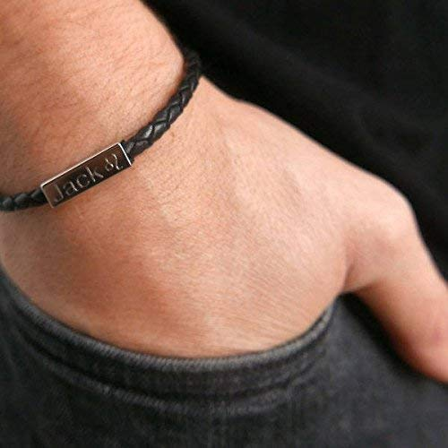 Handmade Engraved Bracelet For Men Made of Leather and Set With Stainless Steel Palette By Galis Jewelry - Personalized Bracelet For Men - Custom Bracelet For Men - Engraved Jewelry For Men