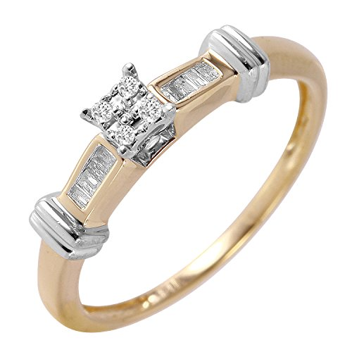 0.1 Carat Natural Diamond 14K Two Tone Gold Engagement Ring for Women Size 7 (Ct Baguette Diamonds 0.1)