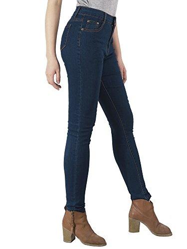 Denim Slim Jeans Haute Stretch Marine Taille Skinny Bleu Femme Chic Pantalon Jean AUSERO HqX7x