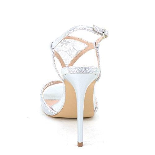 New Brieten Womens Rhinestones Strappy Ankle Strap High Heel Dress Sandals Silver Iyx0ZAfX