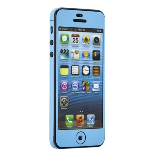 SUPER SAPCE Color Full Body Decal Skin Cover Film Sticker Guard Iphone 5 5s 5g (light blue)