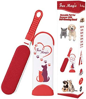 Fur Magic Pet Hair Remover Lint Brush With Self-Cleaning Base, Improved Handle, Double-sided Fur Brush for Dog and Cat, Red Limited Edition