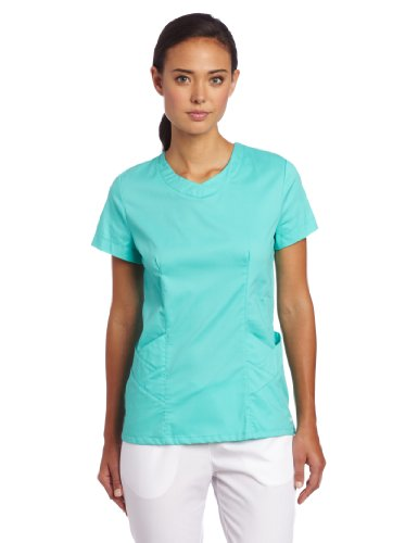 Landau Scrubs Women's Smart Stretch Scoop Neck Top, Turquoise, XX-Large