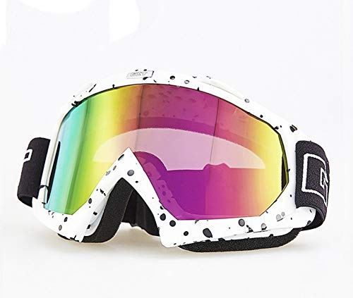 Runspeed Motorcycle Goggles, ATV Dirt Bike Racing MX Glasses UV Protection Motorbike Ski Snowboard Goggles Men, Women & Youth - 100% UV Protection (White/Black ()