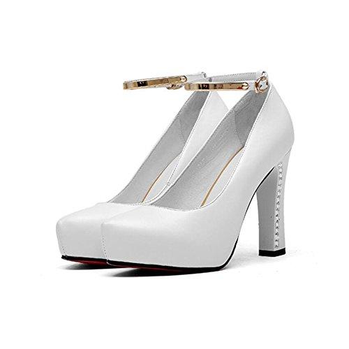 Taille Bride en Unique UK4 Chaussures Imperméable Red EU36 CJC Mot Chaussures Red Plate Couleur Cuir Talons Forme à Boucle Hauts YxBwa5q