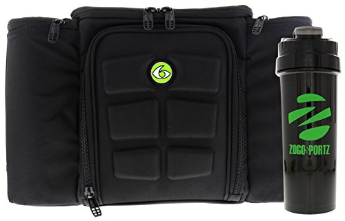 (6 Pack Fitness Insulated Meal Prep Bag, Innovator 300 Black/Neon Green (3 Meal) w/Bonus ZogoSportz Cyclone Shaker)
