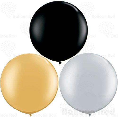 36 Inch (3 ft) Giant Jumbo Latex Balloons (Premium Helium Quality), Pack of 12, Round Shape - Black + Gold + Silver, for Photo Shoot/Birthday/Wedding Party/Festival/Event/Carnival ()