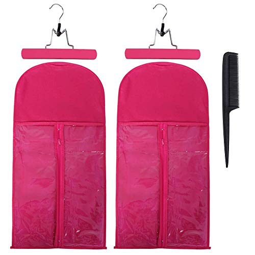2 Pack Hair Extension Storage Bag with Hanger Holder Holder Dust Proof Portable Hair Extension Bag Carrier Case with Transparent Zip Up Closure for Travel (Rose Red)