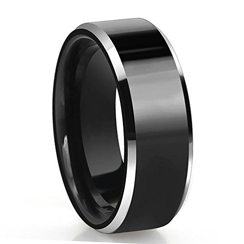 8mm Black Tunsten Ring 2 Tone Polished Finish Comfort Fit Engagement Wedding Band for Men Women Available Size 6-13 TU057R