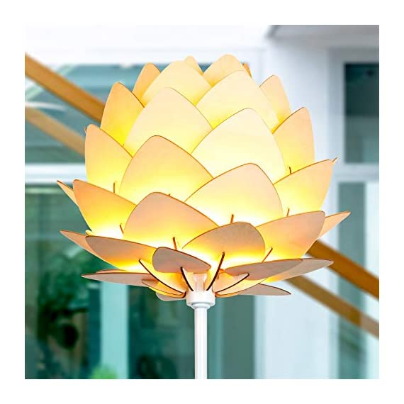 Brightech Artichoke LED Floor Lamp- Unique Contemporary Standing Light for Living Room, Bedrooms- Modern Multi-Panel Style Wooden Shade – Tall Pole Uplight Lamp - UPRIGHT LAMP FOR CONTEMPORARY DECOR: The Artichoke LED Floor Lamp has a stunning sculptural design that will upgrade your space in a unique and creative way. It pairs well with modern, mid-century, Scandinavian, and Asian style décor. The pole has a white finish, which helps provide a clean, sleek look and fits perfectly with the inviting tone of the warm white LED light the bulb emits. ALEXA & GOOGLE HOME COMPATIBLE WARM READING LIGHT FOR HOME OR OFFICE: Works with smart outlets that are Alexa, Google Home Assistant, or Apple HomeKit enabled, to turn on/off. (Requires smart outlet sold separately.) The Artichoke Lamp gives off warm, cozy light without producing a harsh glare and creates a comfortable space beside your book chair; it's a great alternative to unpleasant overhead lights. FITS EASILY NEXT TO A SIDE TABLE, BED, DESK, OR COUCH: This lamp is lightweight, weighs only 12.5 pounds, and reaches just over five and a half feet tall, so that it is easy to move around to where light is needed most in your room. Its slender design makes it easy to place near love seats, sofas, armchairs, side tables, and desks. The lamp has a weighted base that prevents tipping, and the convenient to use on/off pedal switch allows you to easily tap the lamp on or off with your foot. - living-room-decor, living-room, floor-lamps - 41DetaNoqdL. SS570  -