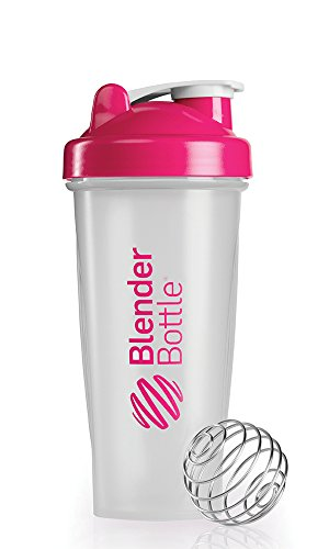 BlenderBottle Classic Shaker Bottle, Clear/Pink, 28-Ounce