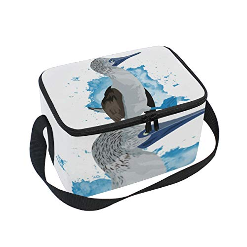 Cooler Wine Footed (Lunch Bag Blue Footed Booby, Large Insulated Bento Cooler Box with Black Shoulder Strap for Men Women Kids, BaLin 10