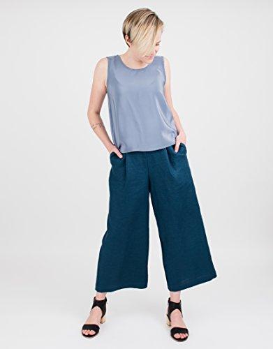 Women's Blue Linen Culottes by BAUH designs
