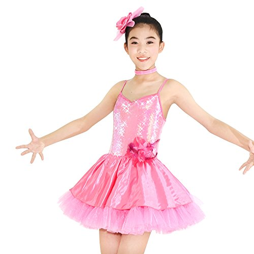 Spanish Jazz Costume (MiDee Girls' Camisole Sequin Ballet Dance Costumes Paso Doble Party Dress (MC, Pink))
