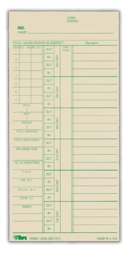 TOPS Time Cards, Weekly, 2-Sided, Numbered Days, 3-3/8