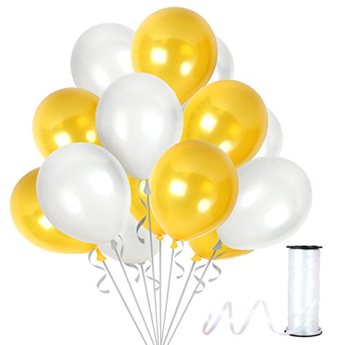 "Treasures Gifted 12"" Latex Gold Balloons White Balloons - Pack of 100 Pieces, Thick Latex 12 Inches Gold and White Balloon Top Quality Decorations For Birthdays Anniversaries Weddings (Purple And Black Halloween Nail Designs)"