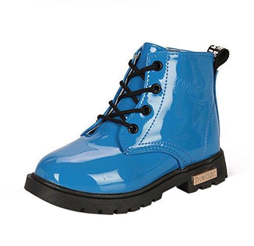 Maxu Fashion Girls Boys Blue PU Waterproof Child Martin Boots,Little Kid, 12M US
