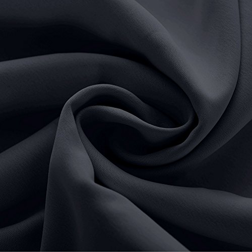 Macochico Outdoor Curtains Noise Reducing Lightproof Home Decoration Black Waterproof Blackout Pinch Pleat Draperies for Patio Garden Gazebo Porch Living Room 52W x 84L (1 Panel)