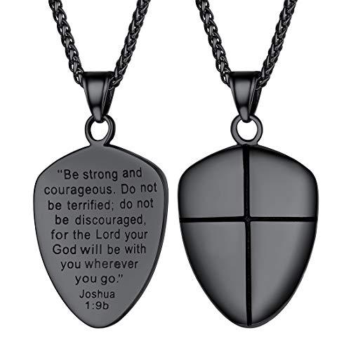 U7 Shield of Faith Pendant Chain 22 Inch Black Gun Plated Joshua 1:9 Cross Amulet Necklace