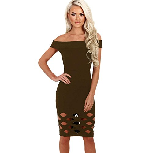Winhurn Women Solid Color Off Shoulder Sleeveless Hollowed Out Bodycon Dress (S, Army Green)