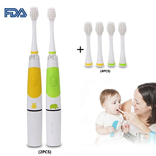 Cheap Kids Sonic Electric Toothbrush, 2Pcs Smart Toothbrush with LED Lights & 2 Replacement Brush Heads for 2-5Years Baby Toddler Children