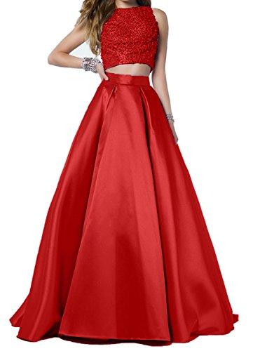 Zwei Bodenlang Cocktailkleider Abendkleider Damen A Teilig Ballkleider Charmant Perlen Linie Lilac Rot Rock wqE0dX8