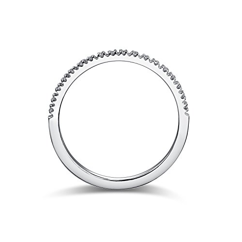 1.5mm Rhodium Plated Sterling Silver Riviera Petite Micropave Cubic Zirconia CZ Half Eternity Ring (7.5) (Rhodium Plated Sterling Silver Band)