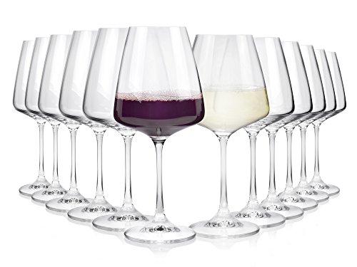 Bohemia Weinglas Set aus Kristallglas 12 teilig   Geeignet für bis zu 12 Personen   Füllmenge 360 ml & 450 ml   Maße der Weißweingläser Ø9,5x20,5 cm   Maße der Rotweingläser Ø 9x22 cm   Perfekt geeignet für den gemütlichen Abend mit Freunden und Familie