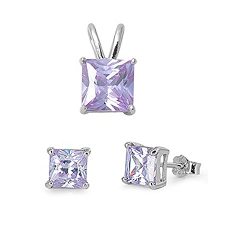 Princess Cut Simulated Gemstone Pendant & Earring .925 Sterling Silver Solitaire Set (Lavender Cubic Zirconia) Lavender Stone Set